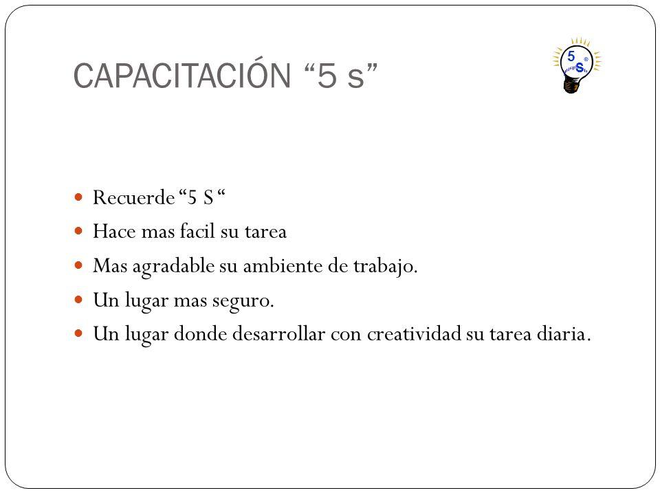 CAPACITACIÓN 5 s Recuerde 5 S Hace mas facil su tarea Mas agradable su ambiente de trabajo. Un lugar mas seguro. Un lugar donde desarrollar con creati