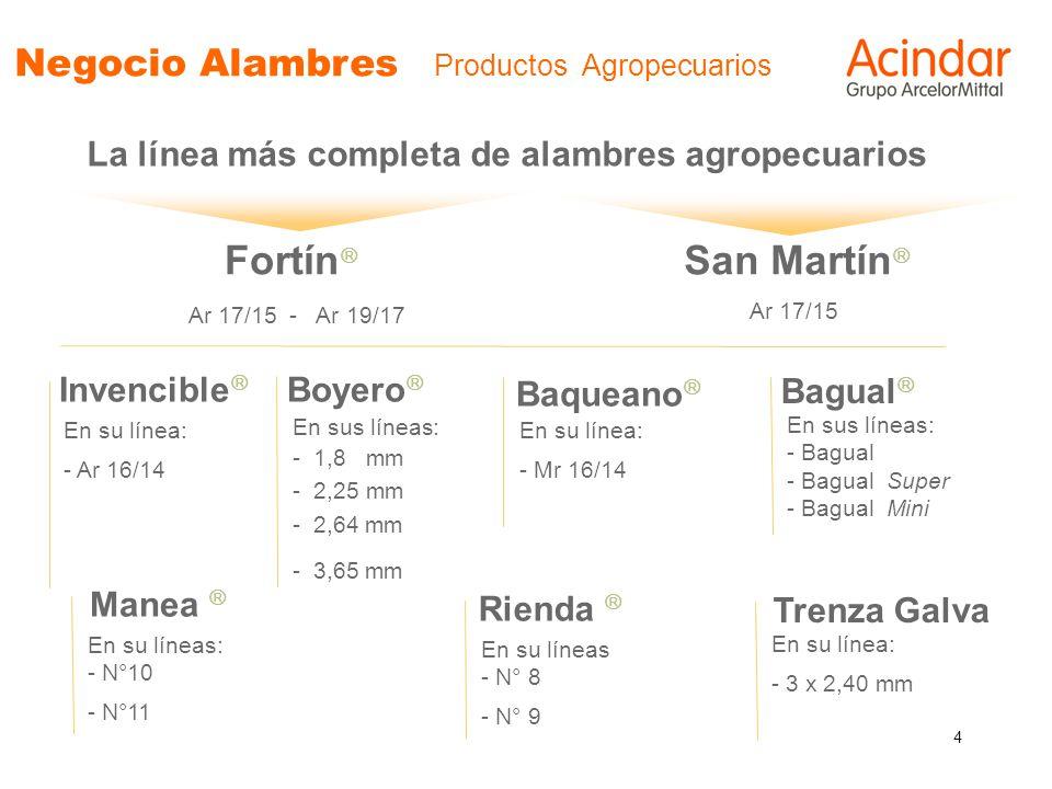 4 Negocio Alambres Productos Agropecuarios La línea más completa de alambres agropecuarios Fortín Ar 17/15 - Ar 19/17 San Martín Ar 17/15 Invencible E