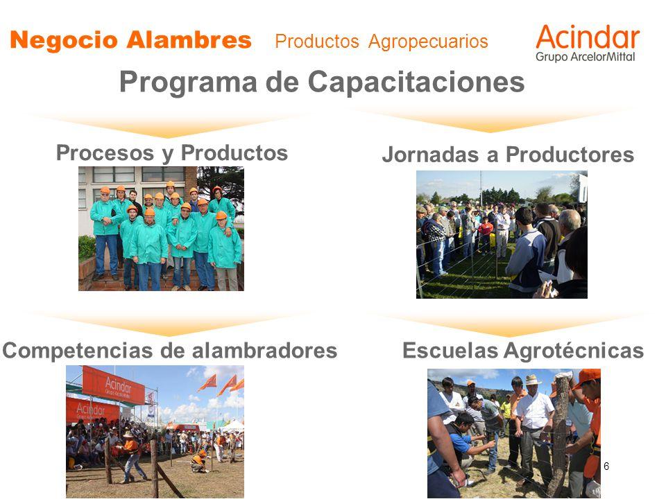 6 Negocio Alambres Productos Agropecuarios Programa de Capacitaciones Procesos y Productos Jornadas a Productores Competencias de alambradoresEscuelas