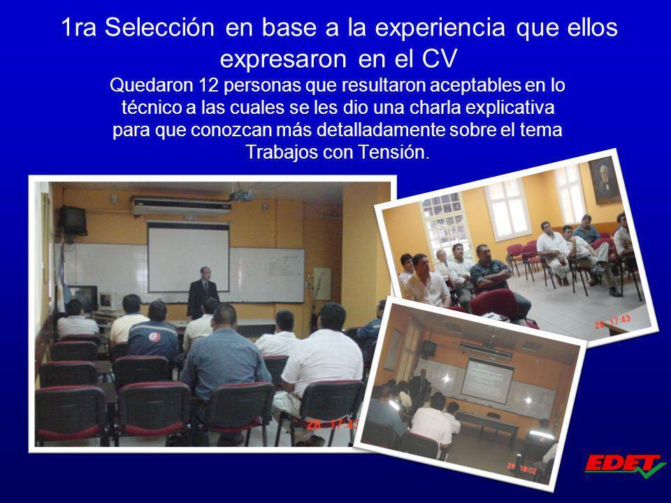 Quedaron 12 personas que resultaron aceptables en lo técnico a las cuales se les dio una charla explicativa para que conozcan más detalladamente sobre