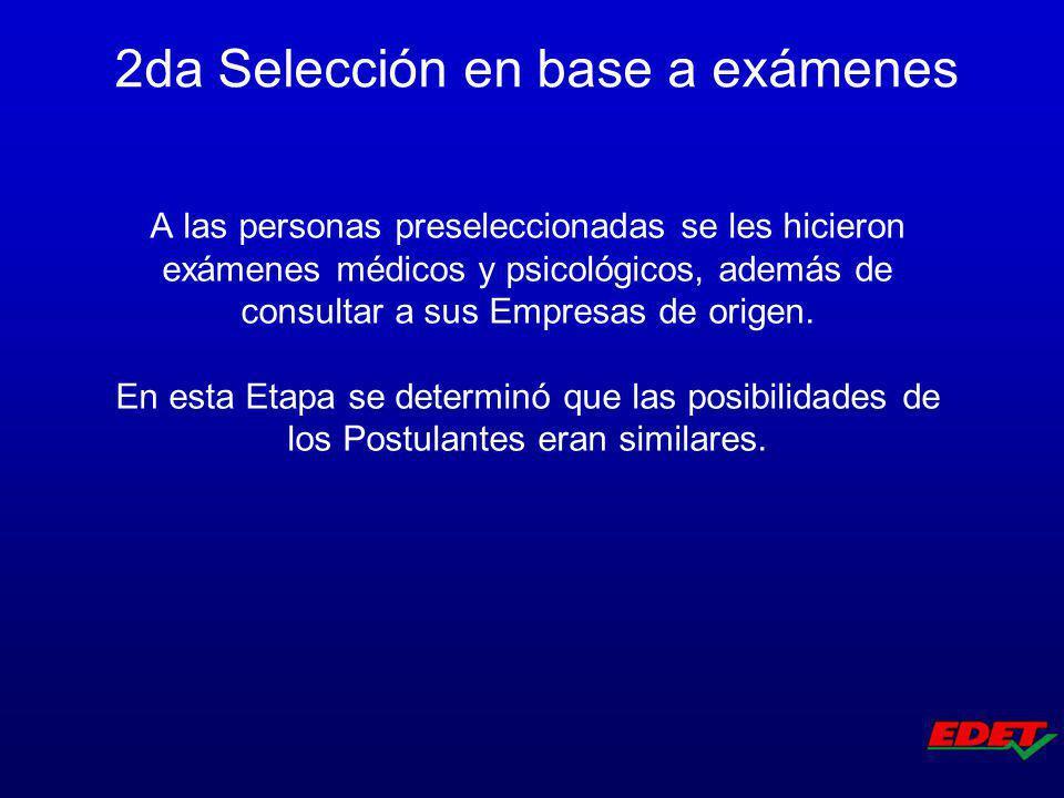 A las personas preseleccionadas se les hicieron exámenes médicos y psicológicos, además de consultar a sus Empresas de origen. En esta Etapa se determ