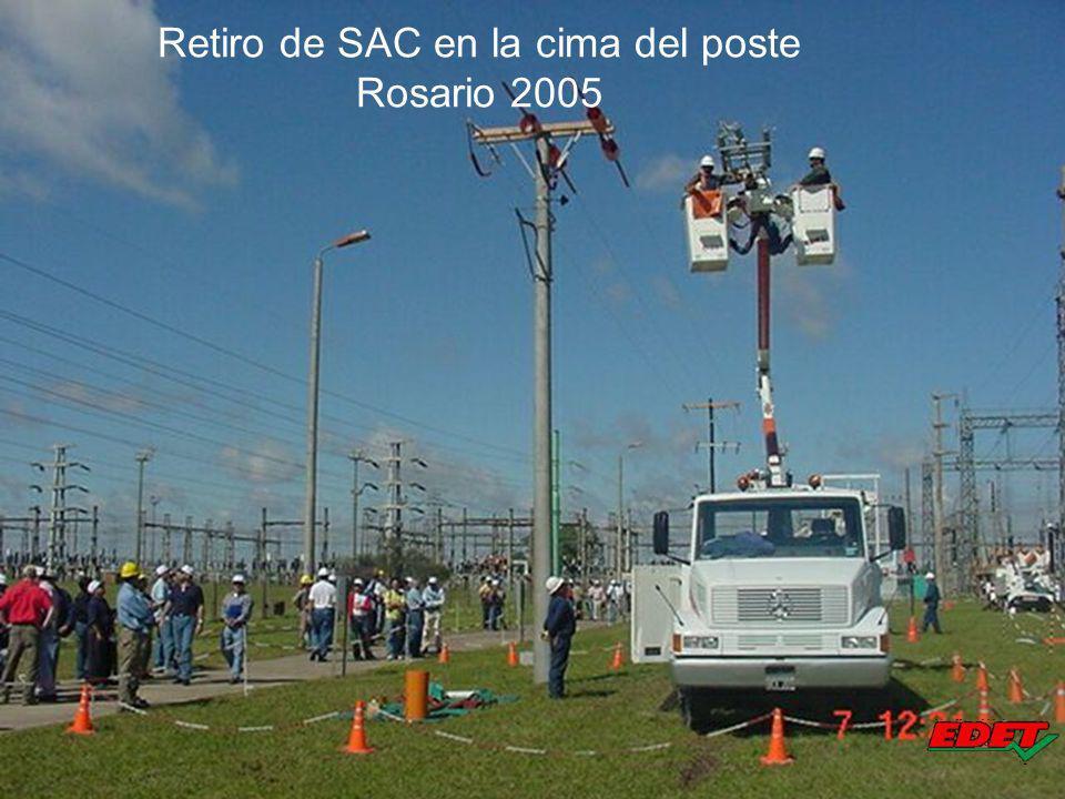Retiro de SAC en la cima del poste Rosario 2005
