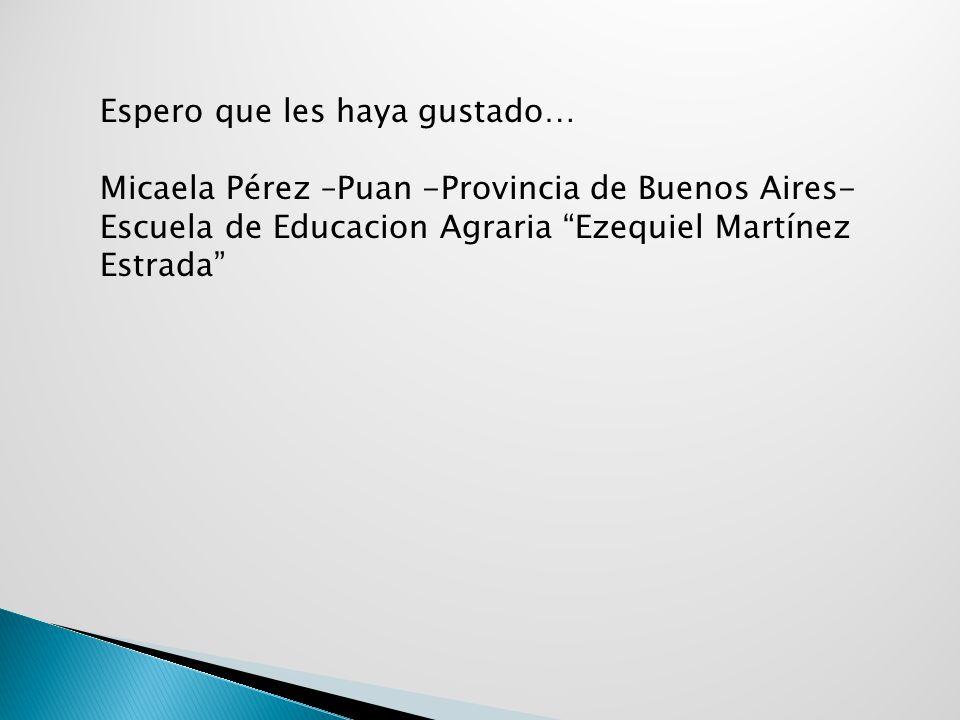 Espero que les haya gustado… Micaela Pérez –Puan -Provincia de Buenos Aires- Escuela de Educacion Agraria Ezequiel Martínez Estrada
