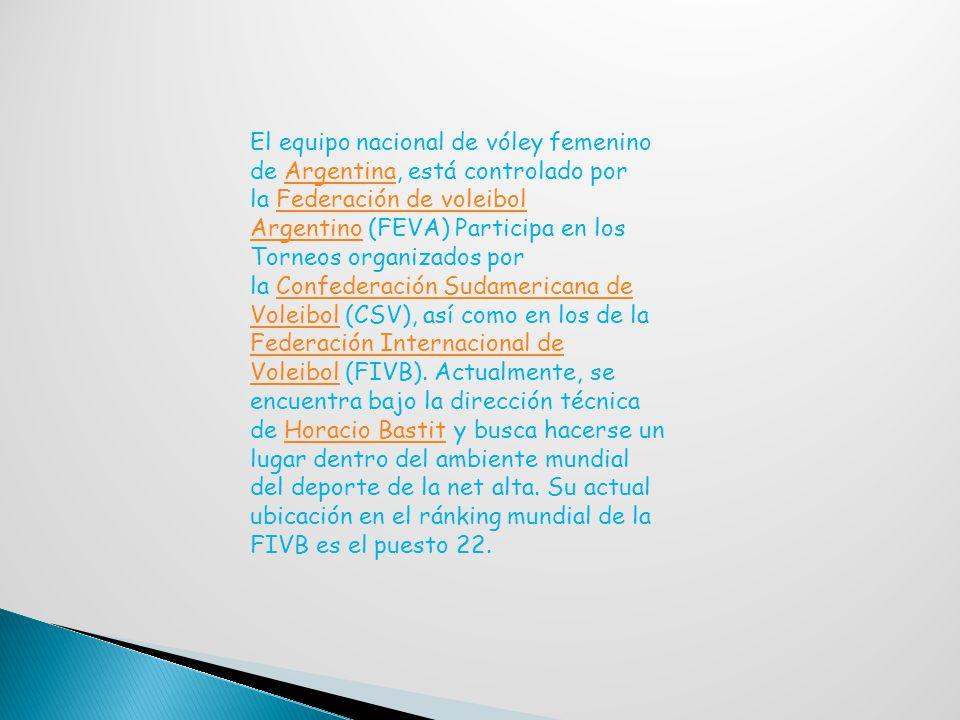 El equipo nacional de vóley femenino de Argentina, está controlado por la Federación de voleibol Argentino (FEVA) Participa en los Torneos organizados por la Confederación Sudamericana de Voleibol (CSV), así como en los de la Federación Internacional de Voleibol (FIVB).