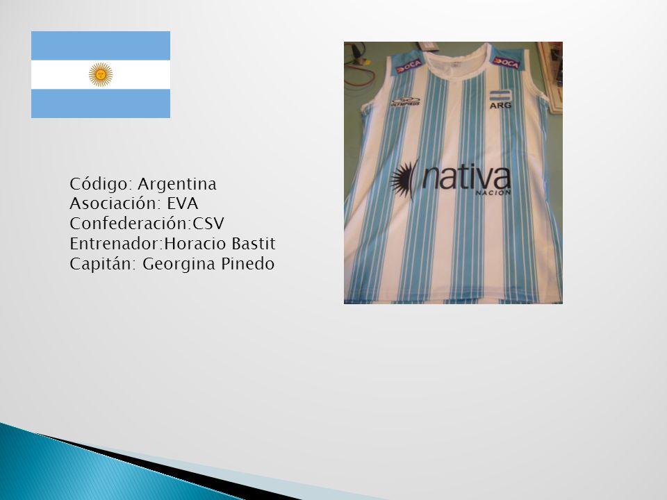 Código: Argentina Asociación: EVA Confederación:CSV Entrenador:Horacio Bastit Capitán: Georgina Pinedo
