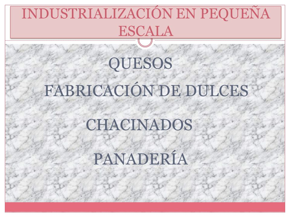 INDUSTRIALIZACIÓN EN PEQUEÑA ESCALA QUESOS FABRICACIÓN DE DULCES PANADERÍA CHACINADOS
