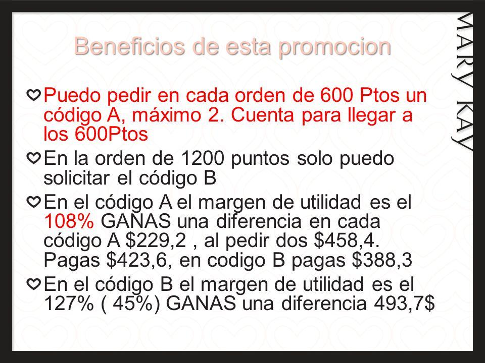 Beneficios de esta promocion Puedo pedir en cada orden de 600 Ptos un código A, máximo 2. Cuenta para llegar a los 600Ptos En la orden de 1200 puntos