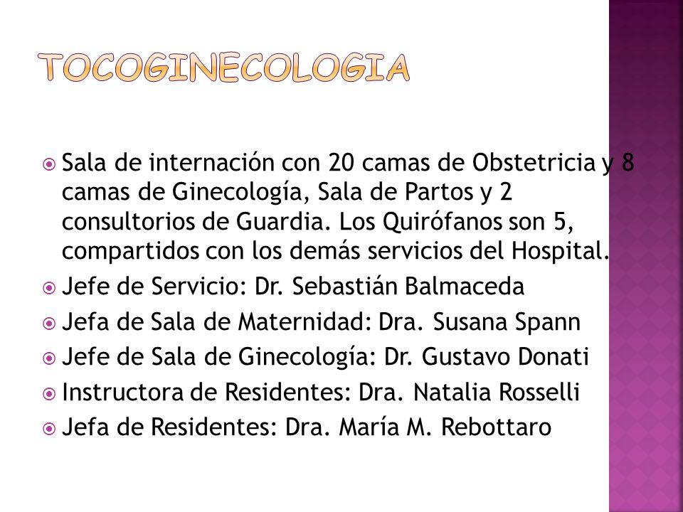 Sala de internación con 20 camas de Obstetricia y 8 camas de Ginecología, Sala de Partos y 2 consultorios de Guardia. Los Quirófanos son 5, compartido
