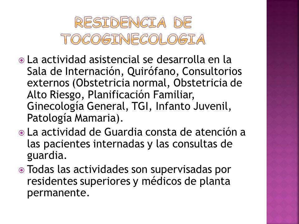 La actividad asistencial se desarrolla en la Sala de Internación, Quirófano, Consultorios externos (Obstetricia normal, Obstetricia de Alto Riesgo, Pl