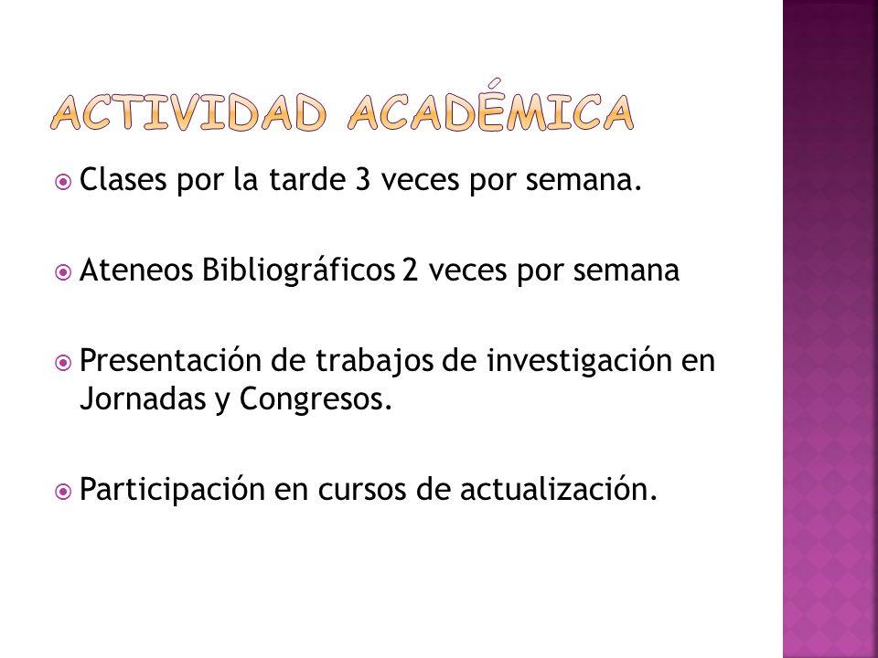 Clases por la tarde 3 veces por semana. Ateneos Bibliográficos 2 veces por semana Presentación de trabajos de investigación en Jornadas y Congresos. P