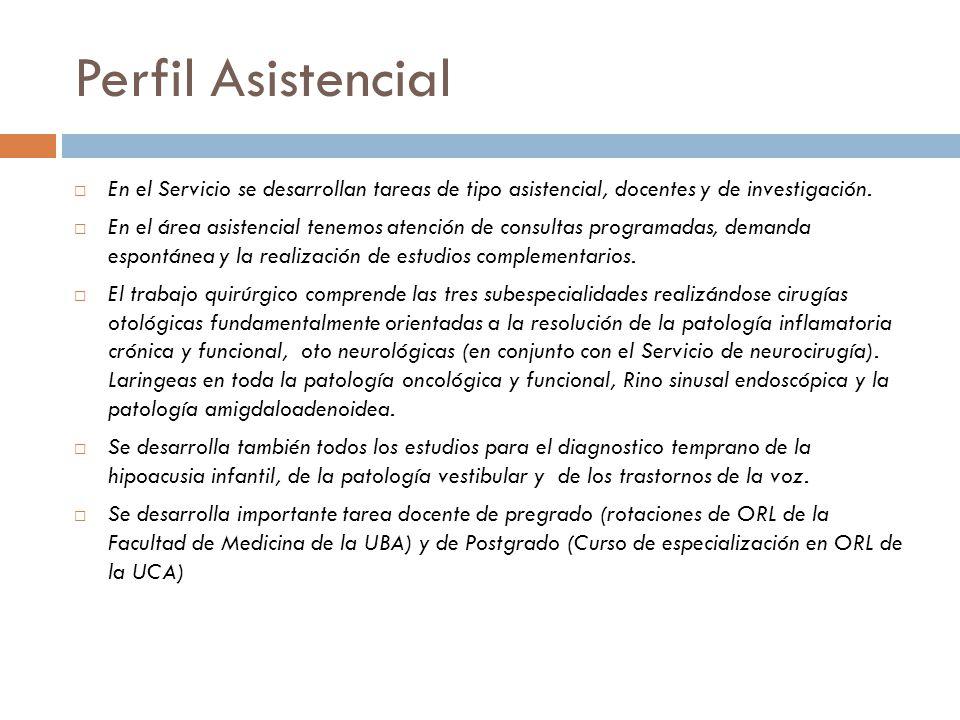 Perfil Asistencial En el Servicio se desarrollan tareas de tipo asistencial, docentes y de investigación.