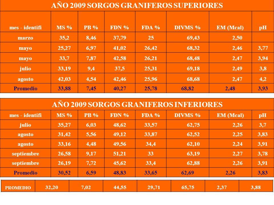 Ing. Agr. Gustavo Clemente AÑO 2009 SORGOS GRANIFEROS SUPERIORES mes - identifiMS %PB %FDN %FDA %DIVMS %EM (Mcal)pH marzo35,28,4637,7925 69,43 2,50 ma