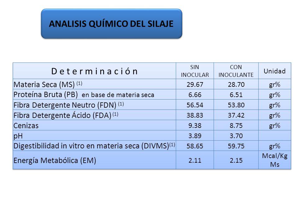 (1) No presentaron diferencias significativas (p 0,05) ANALISIS QUÍMICO DEL SILAJE Ing. Agr. Gustavo Clemente – Ing. Agr. Juan Monge