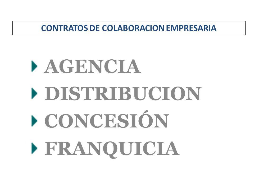 AGENCIA DISTRIBUCION CONCESIÓN FRANQUICIA CONTRATOS DE COLABORACION EMPRESARIA