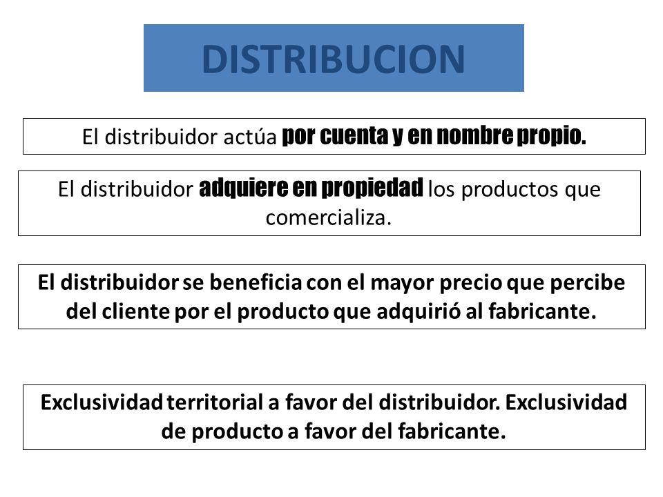 El distribuidor adquiere en propiedad los productos que comercializa. DISTRIBUCION Exclusividad territorial a favor del distribuidor. Exclusividad de