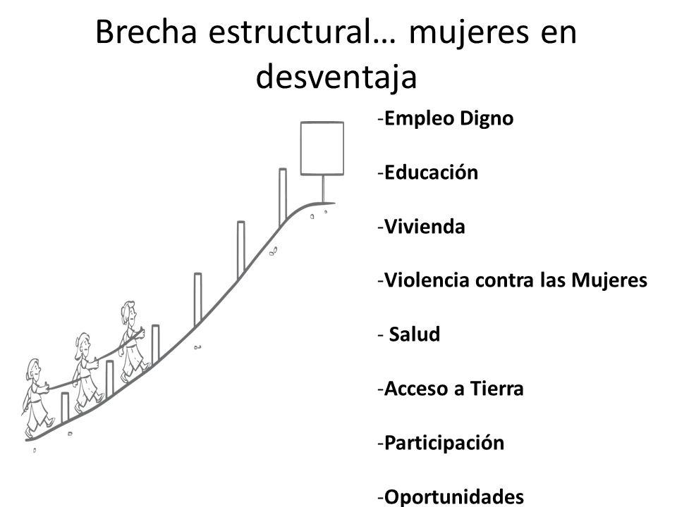Brecha estructural… mujeres en desventaja -Empleo Digno -Educación -Vivienda -Violencia contra las Mujeres - Salud -Acceso a Tierra -Participación -Oportunidades
