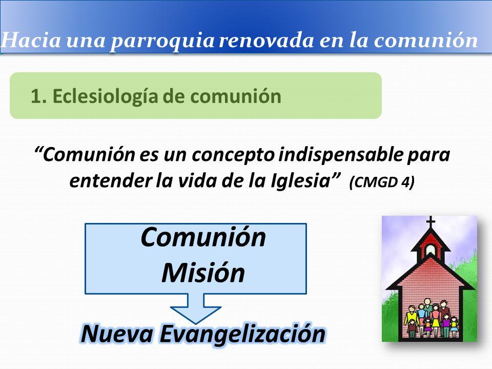 Hacia una parroquia renovada en la comunión 1. Eclesiología de comunión Comunión es un concepto indispensable para entender la vida de la Iglesia (CMG