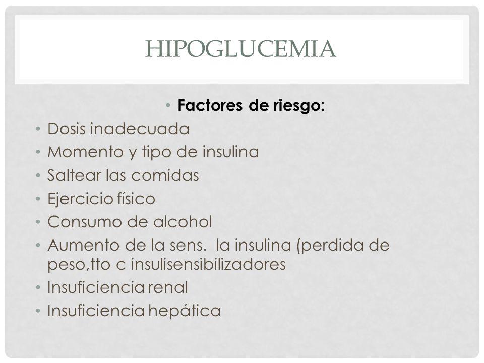 HIPOGLUCEMIA Factores de riesgo: Dosis inadecuada Momento y tipo de insulina Saltear las comidas Ejercicio físico Consumo de alcohol Aumento de la sens.