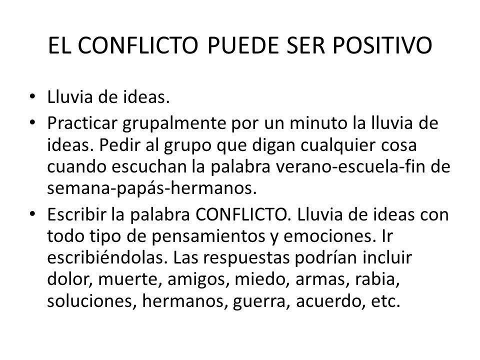 EL CONFLICTO PUEDE SER POSITIVO Lluvia de ideas.