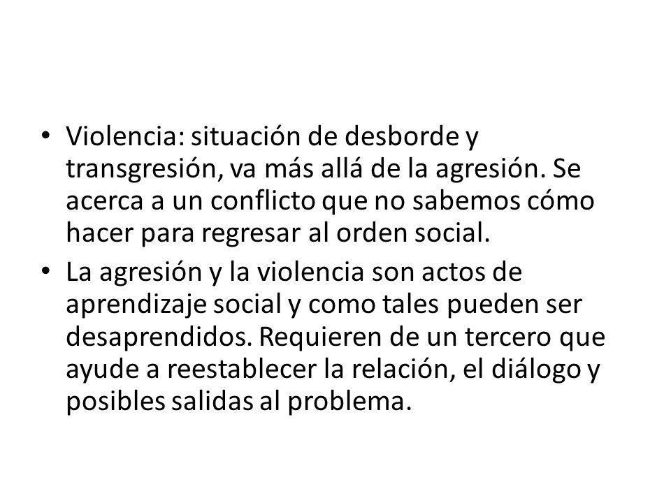 Violencia: situación de desborde y transgresión, va más allá de la agresión.