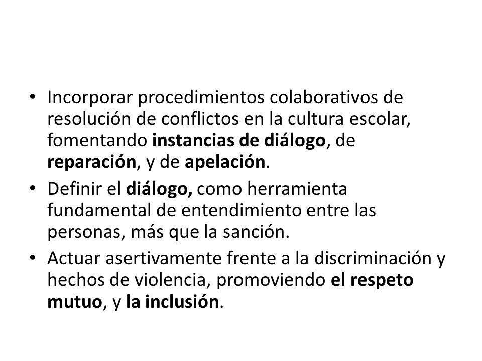 Incorporar procedimientos colaborativos de resolución de conflictos en la cultura escolar, fomentando instancias de diálogo, de reparación, y de apela