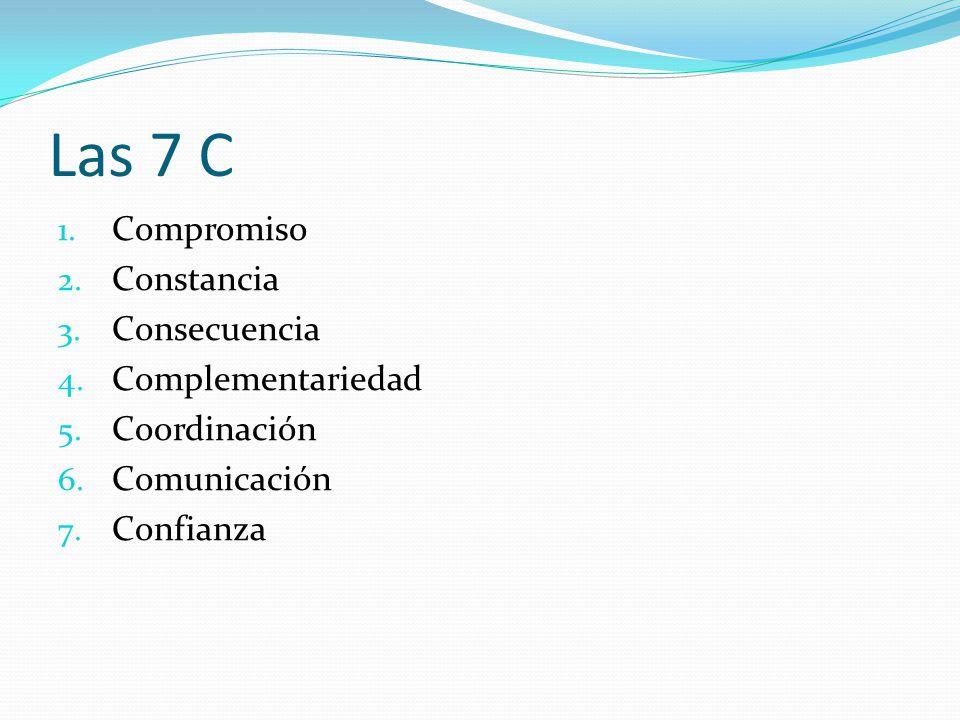 Las 7 C 1. Compromiso 2. Constancia 3. Consecuencia 4. Complementariedad 5. Coordinación 6. Comunicación 7. Confianza