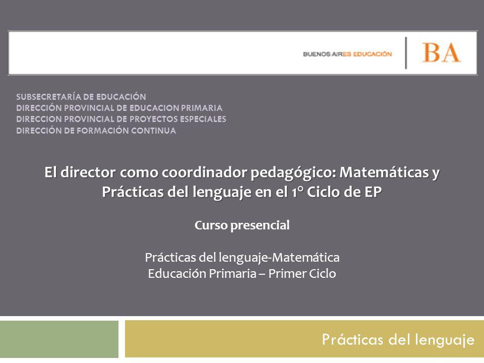 SUBSECRETARÍA DE EDUCACIÓN DIRECCIÓN PROVINCIAL DE EDUCACION PRIMARIA DIRECCION PROVINCIAL DE PROYECTOS ESPECIALES DIRECCIÓN DE FORMACIÓN CONTINUA Prá