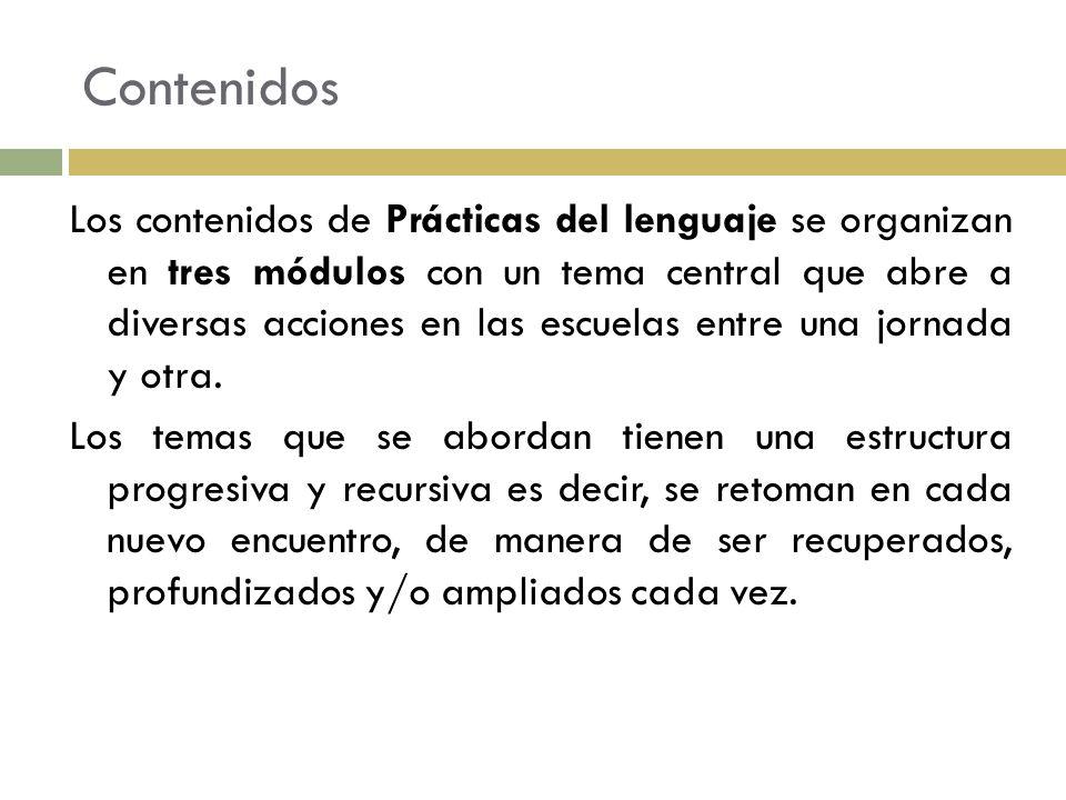 Contenidos Los contenidos de Prácticas del lenguaje se organizan en tres módulos con un tema central que abre a diversas acciones en las escuelas entr