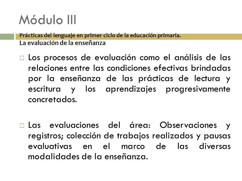 Módulo III Los procesos de evaluación como el análisis de las relaciones entre las condiciones efectivas brindadas por la enseñanza de las prácticas d