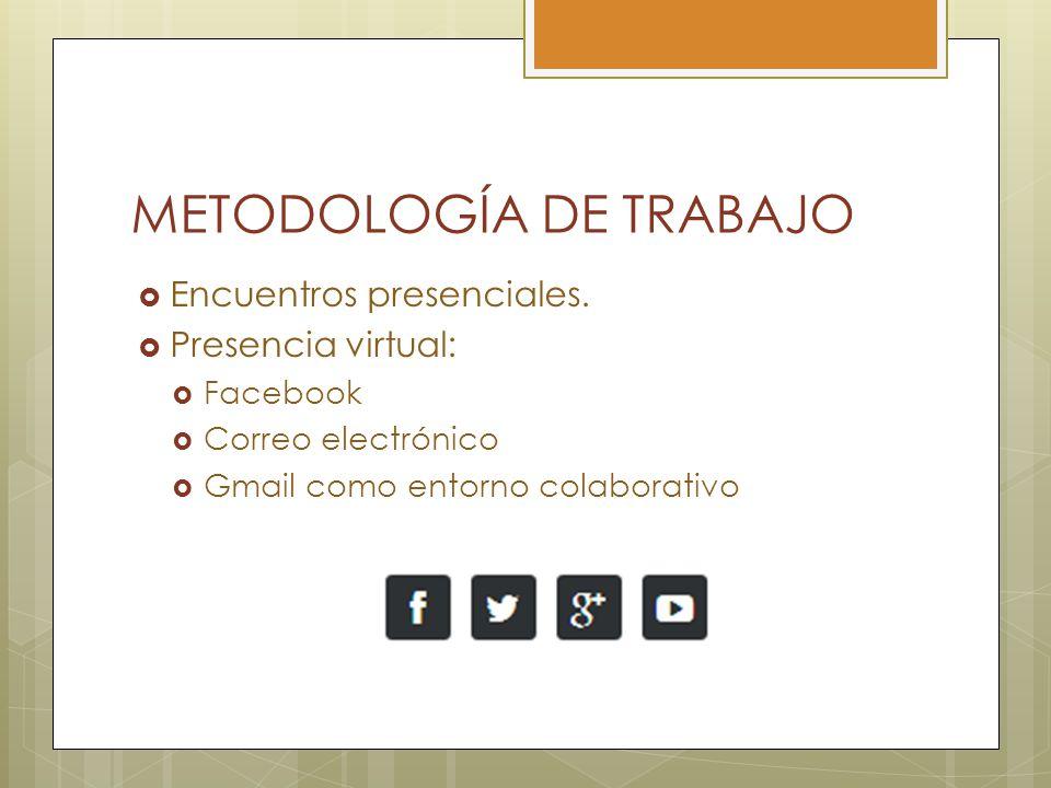 METODOLOGÍA DE TRABAJO Encuentros presenciales.