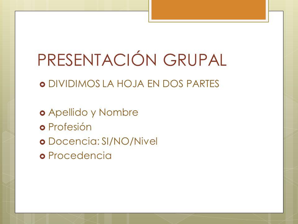 PRESENTACIÓN GRUPAL DIVIDIMOS LA HOJA EN DOS PARTES Apellido y Nombre Profesión Docencia: SI/NO/Nivel Procedencia