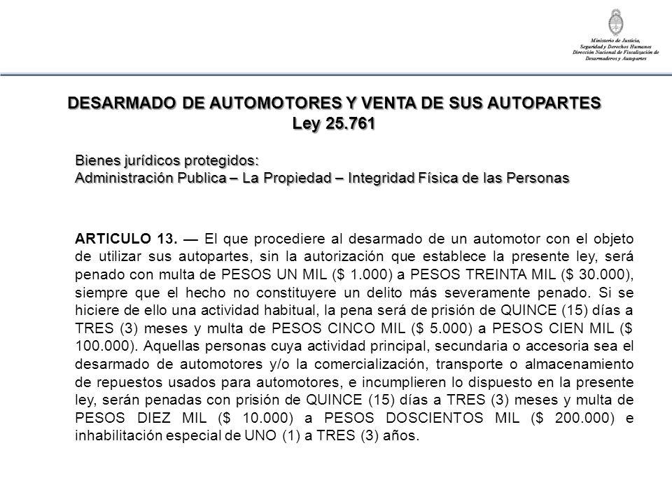ARTICULO 13. El que procediere al desarmado de un automotor con el objeto de utilizar sus autopartes, sin la autorización que establece la presente le
