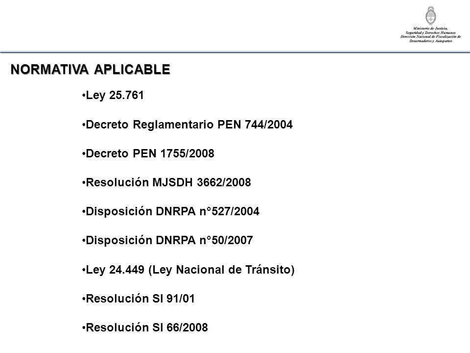 NORMATIVA APLICABLE Ley 25.761 Decreto Reglamentario PEN 744/2004 Decreto PEN 1755/2008 Resolución MJSDH 3662/2008 Disposición DNRPA n°527/2004 Dispos