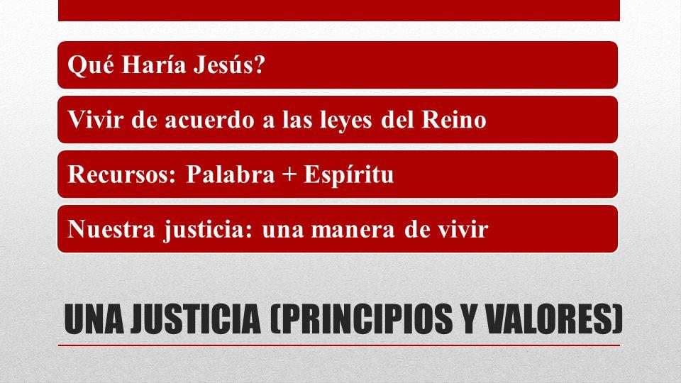UNA JUSTICIA (PRINCIPIOS Y VALORES) Qué Haría Jesús?Vivir de acuerdo a las leyes del ReinoRecursos: Palabra + EspírituNuestra justicia: una manera de