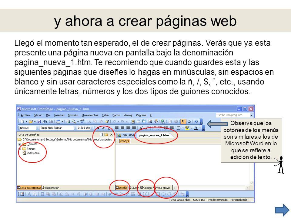y ahora a crear páginas web Llegó el momento tan esperado, el de crear páginas. Verás que ya esta presente una página nueva en pantalla bajo la denomi