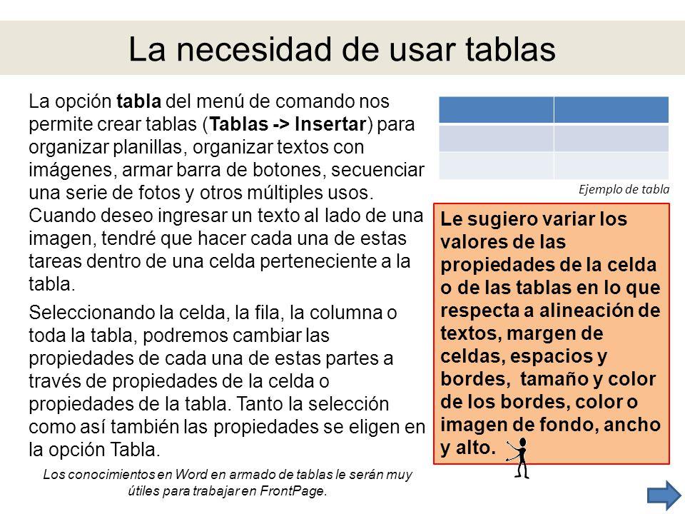 La necesidad de usar tablas La opción tabla del menú de comando nos permite crear tablas (Tablas -> Insertar) para organizar planillas, organizar text