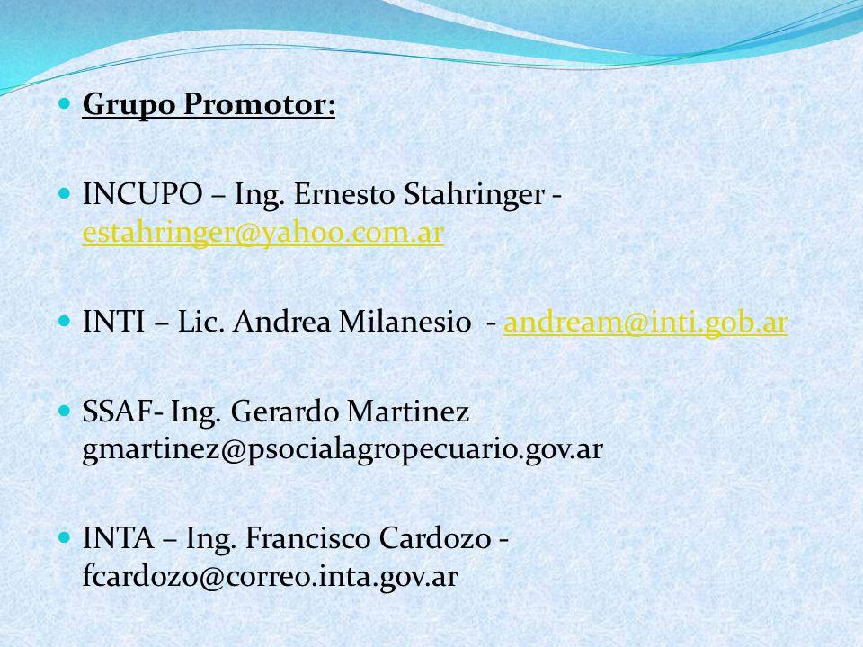 Grupo Promotor: INCUPO – Ing.