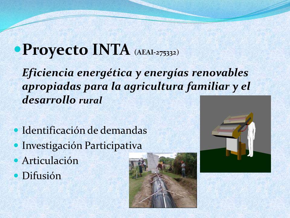 Proyecto INTA (AEAI-275332) Eficiencia energética y energías renovables apropiadas para la agricultura familiar y el desarrollo rural Identificación de demandas Investigación Participativa Articulación Difusión