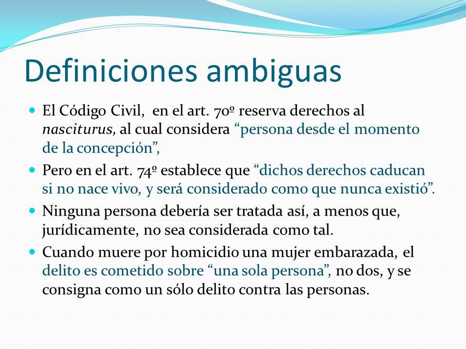 Definiciones ambiguas El Código Civil, en el art.