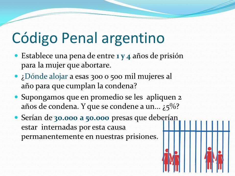 Código Penal argentino Establece una pena de entre 1 y 4 años de prisión para la mujer que abortare.