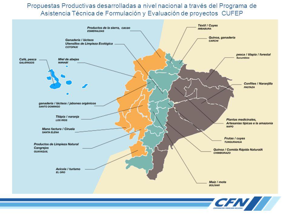 Propuestas Productivas desarrolladas a nivel nacional a través del Programa de Asistencia Técnica de Formulación y Evaluación de proyectos CUFEP