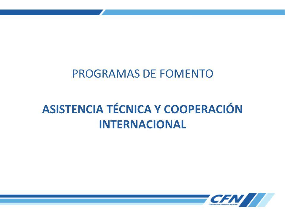 PROGRAMAS DE FOMENTO ASISTENCIA TÉCNICA Y COOPERACIÓN INTERNACIONAL