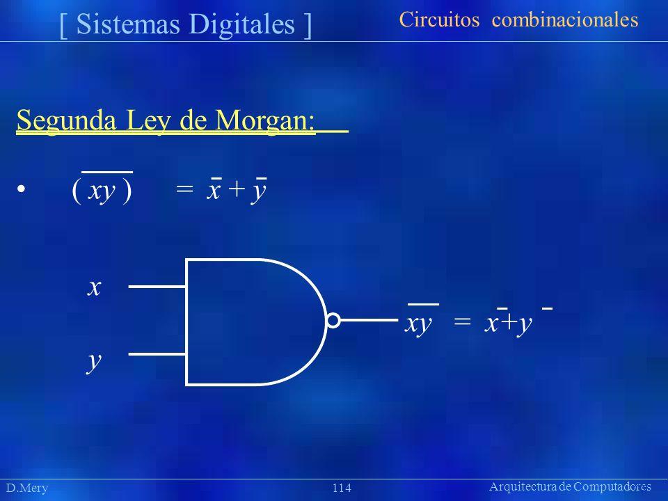 Arquitectura de Computadores Präsentat ion D.Mery114 [ Sistemas Digitales ] Segunda Ley de Morgan: ( xy )= x + y Circuitos combinacionales x xy = x+y