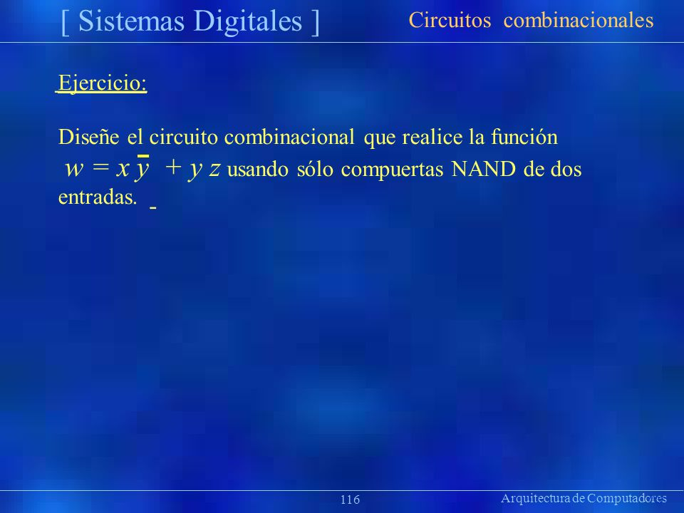 Arquitectura de Computadores [ Sistemas Digitales ] Präsentat ion 116 Ejercicio: Diseñe el circuito combinacional que realice la función w = x y + y z