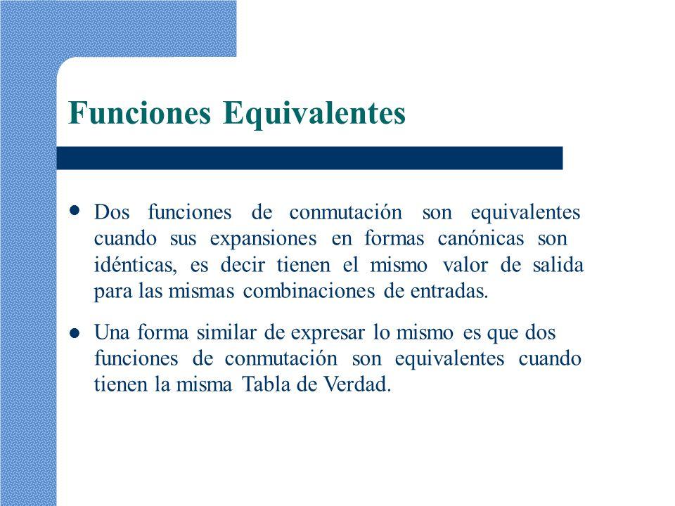 Funciones Equivalentes Dos funciones de conmutación son equivalentes cuando sus expansiones en formas canónicas son idénticas, es decir tienen el mism