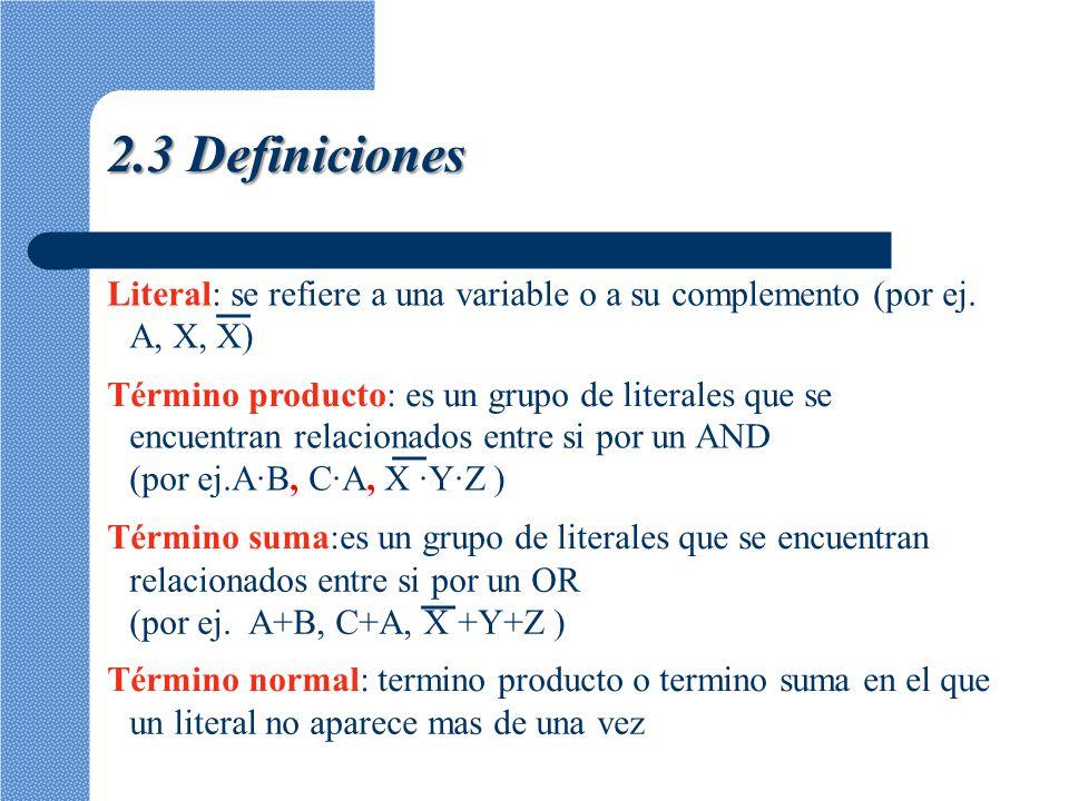 Término canónico: termino en el que se encuentra exactamente uno de cada uno de los literales de la función.Si el termino canónico es un producto, se denominará mintérmino.