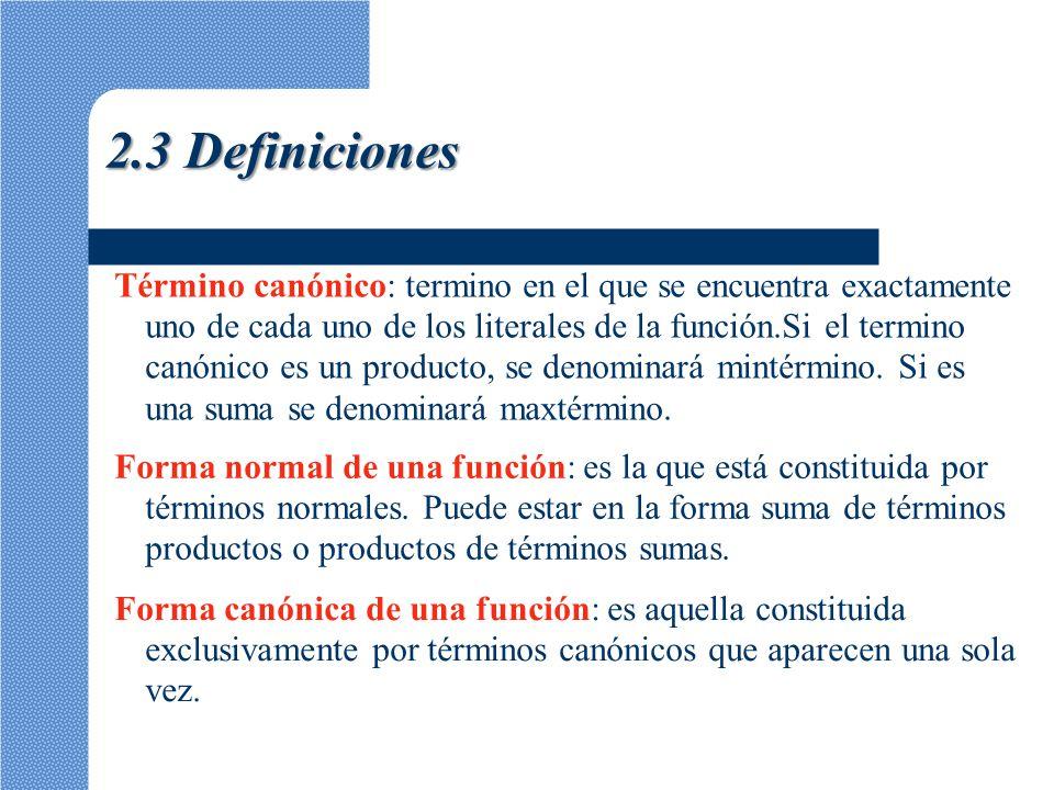 Término canónico: termino en el que se encuentra exactamente uno de cada uno de los literales de la función.Si el termino canónico es un producto, se