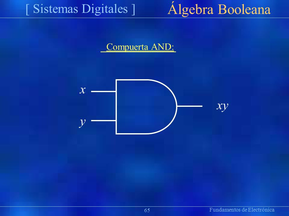 Fundamentos de Electrónica [ Sistemas Digitales ] Präsentat ion Álgebra Booleana Compuerta AND: x xy y 65