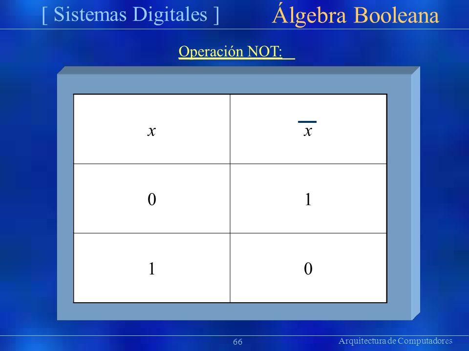 xx 01 10 Arquitectura de Computadores [ Sistemas Digitales ] Präsentat ion Álgebra Booleana 66 Operación NOT: