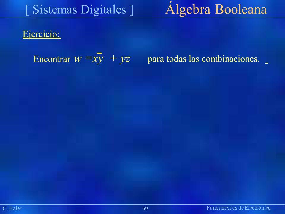 Fundamentos de Electrónica Präsentat ion Álgebra Booleana [ Sistemas Digitales ] Ejercicio: Encontrar w=xy + yz para todas las combinaciones. C. Baier
